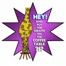 "Who put the giraffe on the coffee table!? STICKER 3"" Waterproof, Glossy, Die Cut"