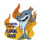 "Nothing Scarier Than a Flaming Shark STICKER 3""   Glossy, Die Cut"