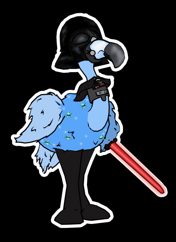 "ABoMinaTioN #11: Darth Flamingo Star Wars parody STICKER 3"" Die Cut,   Glossy"