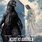 "Jesus vs Godzilla STICKER 3"", Glossy"