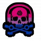 D.J. Skeleton logo STICKER (Bi Flag Version) -  Glossy, Die Cut Sticker