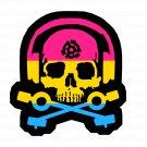 D.J. Skeleton logo STICKER (Pansexual Flag Version) -  Glossy, Die Cut Sticker