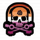 D.J. Skeleton logo STICKER (Lesbian Flag Version) -  Glossy, Die Cut Sticker