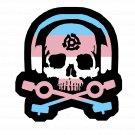 D.J. Skeleton logo STICKER (Trans Flag Version) -  Glossy, Die Cut Sticker