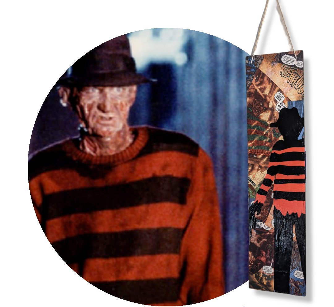 Freddy Krueger Nightmare On Elm Street Hand Painted Wall Hanging with Comic Book Background