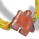 Orange Sparkle Jigsaw Puzzle Paint Palette Pendant Bracelet