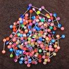 14G 100PCS Tongue Ring Ball Colorful Acrylic Tongue Barbells(Random Colors)