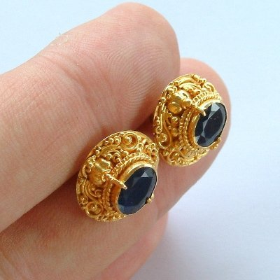22K Gold Granulate Balinese Earrings with Blue Sapphire