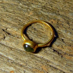 22K Hand made Solid Gold Ring with Green Sapphire
