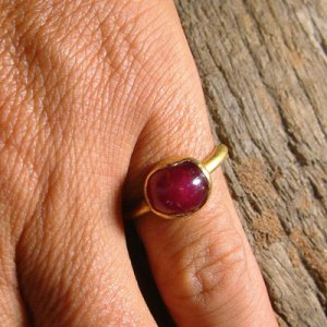 22K Hand made Solid Gold Ring featuring Cabochon Ruby