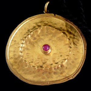 Handmade Gold plated with Cabochon Ruby Pendent