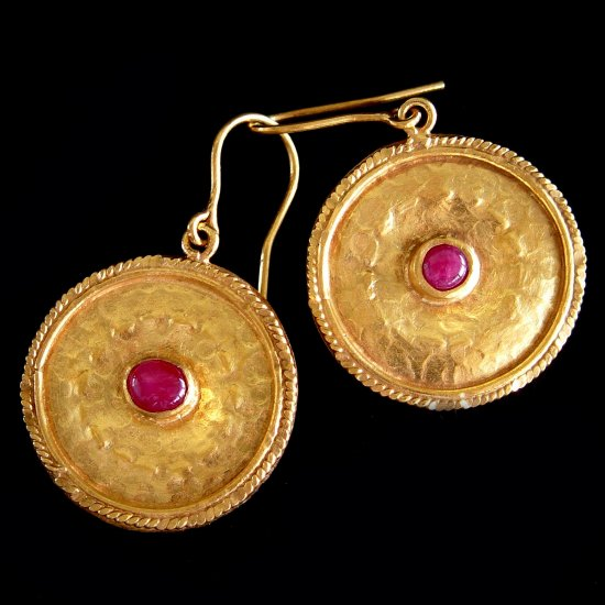 Handmade Gold plated with Cabochon Ruby Earrings