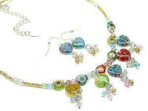 Italian Millifiori Heart Artglass Necklace & Earring Set