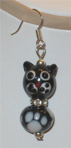 Artglass Lampwork Black Cat Crystal Dangle Earrings