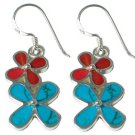 GENUINE TURQUOISE & CORAL STERLING SILVER DOUBLE FLOWER EARRINGS