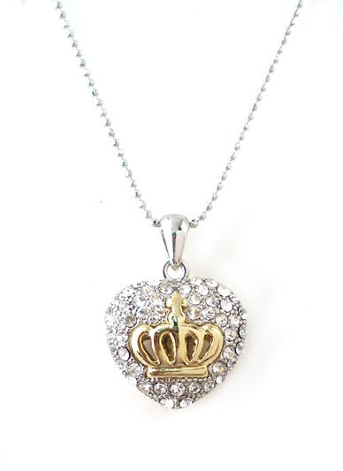 Designer Style Puffy Crystal Heart Necklace