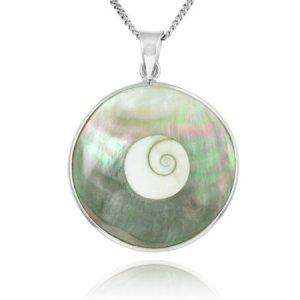 Shiva Eye Shell & Abalone Silver Necklace