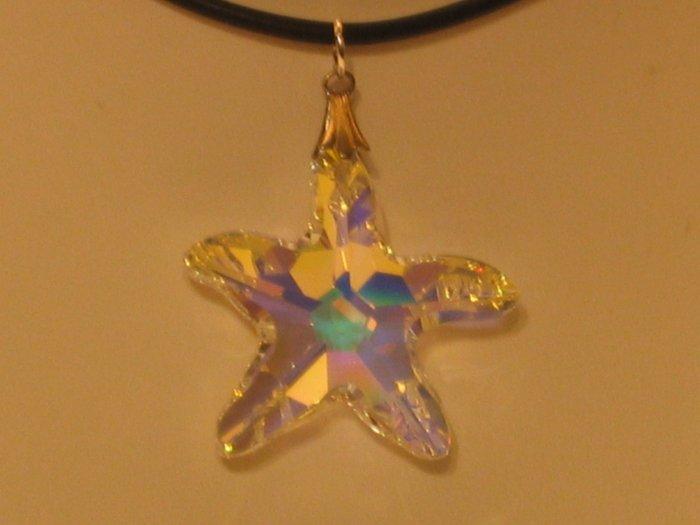 Swarovski Crystal AB 28mm Starfish Star Fish Necklace