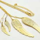 Gold Angel Wings Earring & Necklace Set
