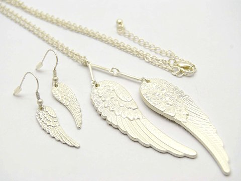 Silver Angel Wings Earring & Necklace Set
