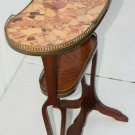 ESTATE ANTIQUE FRENCH LOUIS XV XVI STYLE KIDNEY SHAPED MARBLE BRASS SIDE TABLE