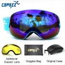 COPOZZ Ski Goggles with Case & Yellow Lens UV400 Anti-fog Spherical ski glasses