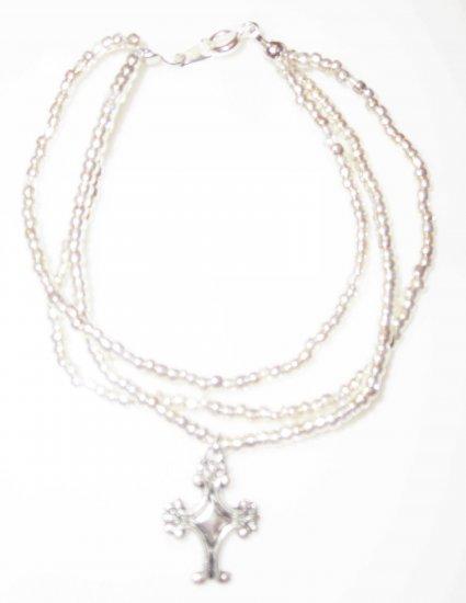 Silver Cross fleur de lis Bracelet