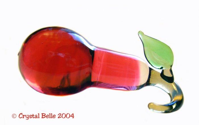 Hand Blown Art Glass Lampwork Fruit Miniature Red Pear
