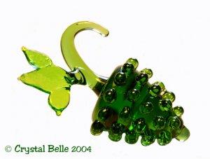 Czech Art Glass Miniature Fruit - Green Grape Cluster