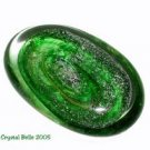 Hand Blown Crystal Art Glass Emerald Green Stone Paperweight
