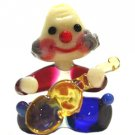 Art Glass Hand Blown Miniature Circus Musician Clown with Guitar
