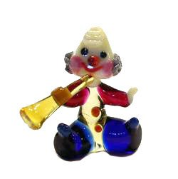 Art Glass Hand Blown Miniature Circus Musician Clown with Trumpet