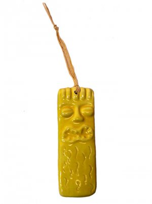 Hawaiian Tiki God Ku Ornament Hand Made Ceramic Wall Hanging - Sunny Yellow