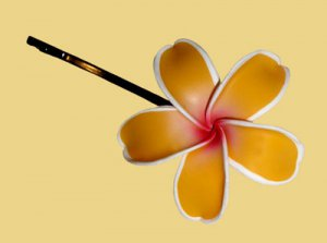 Hawaiian Hand Made Plumeria Frangipani Flower Hair Bobby Pin Pretty Yellow White