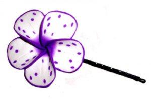 Hawaiian Hand Made Plumeria Frangipani Hair Bobby Pin Cute White Purple Splatter