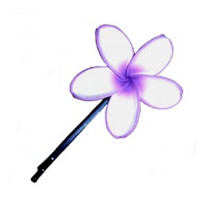 Hawaiian Hand Made Plumeria Frangipani Flower Hair Bobby Pin Violet White