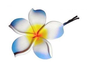 Hawaiian hand made Plumeria Frangipani Flower Hair Bobby Pin Blue White Yellow
