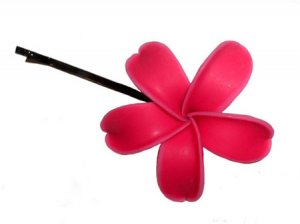 Hawaiian Hand Made Plumeria Frangipani Flower Hair Bobby Pin Sizzling Hot Pink