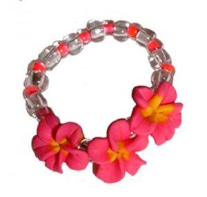 Cute Fun Hawaiian Hand Made Plumeria Frangipani Flower Stretch Ring Pink Yellow