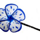 Hawaiian hand made Plumeria Frangipani Flower Hair Bobby Pin White Blue Splatter
