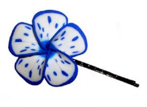 Hawaiian hand made Plumeria Frangipani Flower Hair Bobby Pin White Blue Splatter