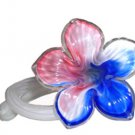 Art Glass Czech Free Form Hand Blown Flower Plumeria Baby Pink  Light Blue Pure White