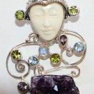Sterling Silver Moon Goddess Pendant w Amethyst, Moonstone, Peridot, Blue Topaz