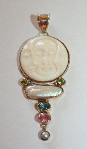 Sterling Silver Triple Moon Goddess Pendant w/ Peridot, Topaz, Rose Quartz, Biwa
