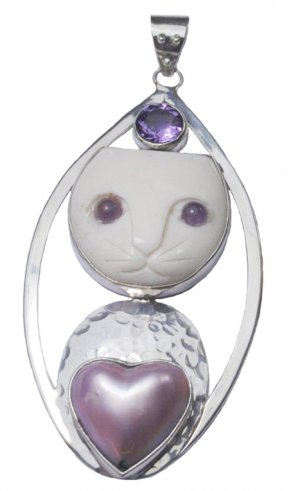 Stunning Sterling Silver Cat Egyptian Mau Pendant Amethyst Pink Mabe Heart Pearl