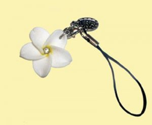 Beautiful Hawaiian Hand Made Plumeria Frangipani Cell Phone Charm White