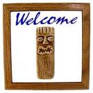 Hawaiian Hand Made Teal Ceramic + Wood Tiki God Ku Hand Made Sign Wall Hanginglc