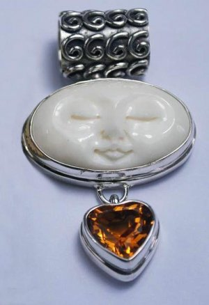 Gorgeous Sterling Silver Moon Face Goddess Pendant  w/ Heart Shaped Citrine Gem