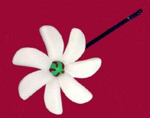 Hawaiian Hand Made Pikake Jasmine Flower Hair Bobby Pin White