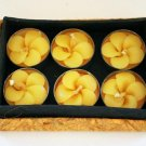 Gorgeous Yellow Frangipani Plumeria Flower Tealight Candles in Gift Box Set of 6